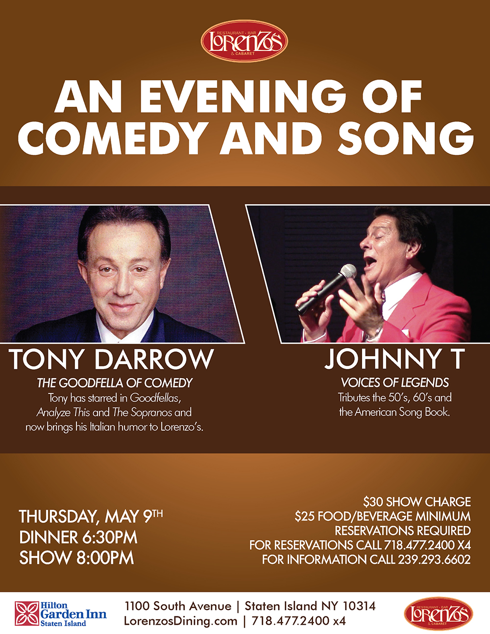Johnny T/ Tony Darrow - An Evening of Comedy and Song