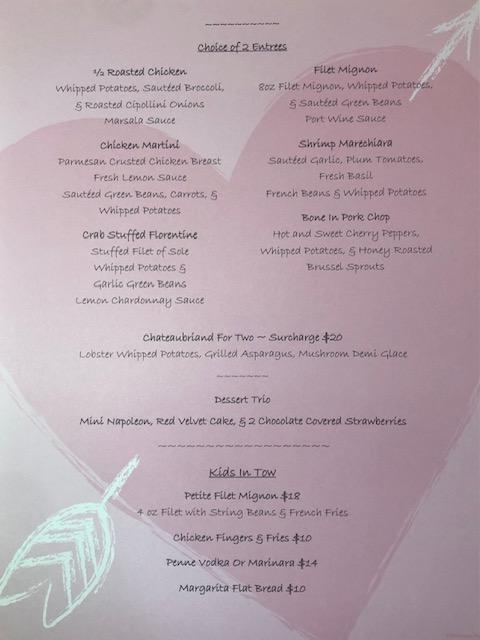 Valentines Day Dinner menu